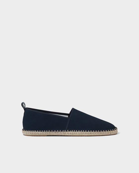 Zdjecie 1 Granatowe Skorzane Buty Na Podeszwie Z Jutowej Plecionki Z Zara Leather Shoes Online Stylish Shoes For Men Leather Shoes Men