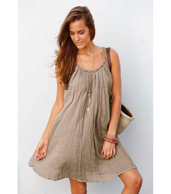 Vestido mulher alças em 100% algodão frisado Promoções 7C Venca