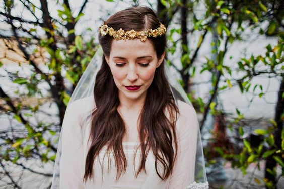 Brass flowers and leaves crown