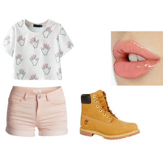 day 3 by nalishaxo on Polyvore featuring Pieces and Timberland