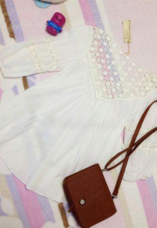 Sweet Elegant Floral Crochet Lace Spliced White T-shirt refashion idea