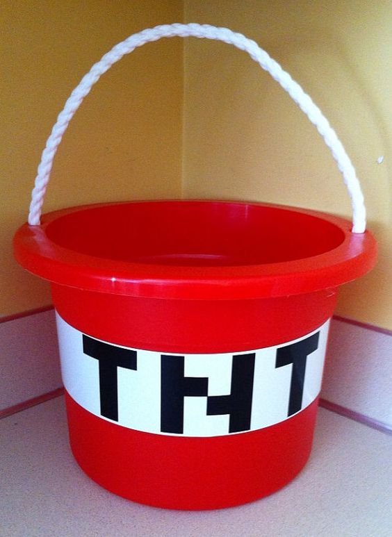 Minecraft TNT bucket / easter basket by CarterMasons on Etsy, $13.00