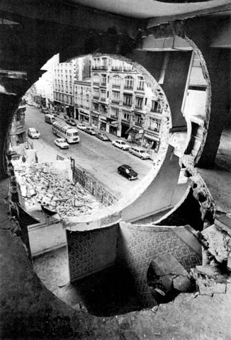 Gordon Matta-Clark  Conical Intersect (detail)  1975 | 27-29, rue Beaubourg, Paris | courtesy of David Zwirner, NY and the Estate of Gordon Matta-Clark #black_and_white #photography #paris:
