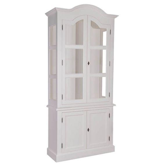 vitrinenschrank weiß, creme, französischer landhausstil, Innenarchitektur ideen