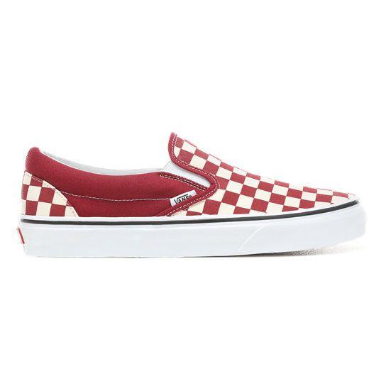 Checkerboard Slip On Shoes | Red | Vans | Vans slip on shoes
