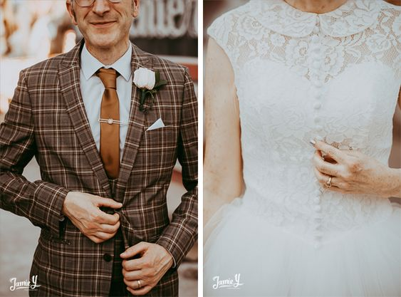 Indie Vegas Wedding Neon Museum | Evelyn & Robert - Jamie Y Photography, indie rock n roll wedding, groom plaid suit inspiration, brown suit, vintage lace wedding dress