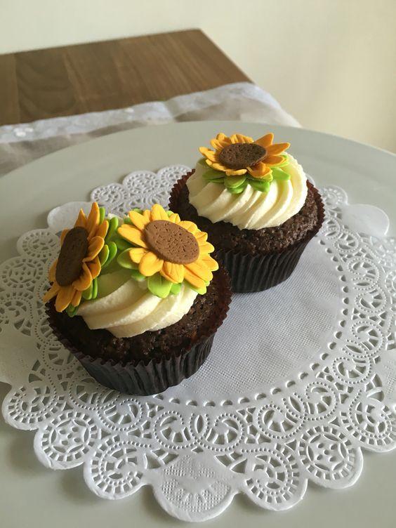 Cupcake brownie girasoles | Postrería