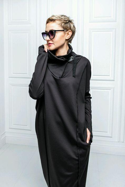Платье с кожанной застежкой - купить или заказать в интернет-магазине на Ярмарке Мастеров | Шикарнок платье свободного стиля из…