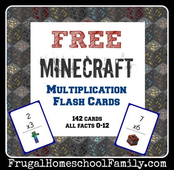 free minecraft multiplication flash cards submission homeschool and fan in. Black Bedroom Furniture Sets. Home Design Ideas