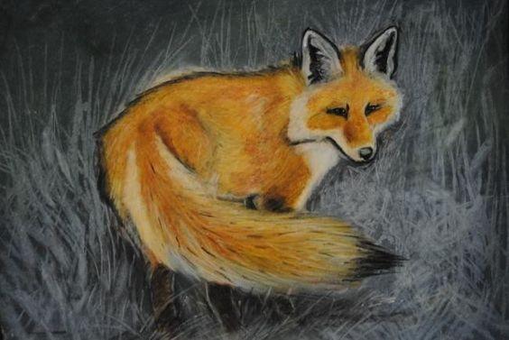 Fox in frozen landscape - Drawing ©2012 by BERNIEPAINTINGS -            fox vosje