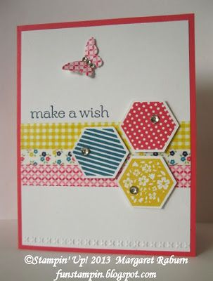 handmade card  from Fun Stampin' with Margaret; Six-Sided Sampler & Sweet Essentials ... three hexagons stamped and punched ... three different washi tapes in a belly band formation ,,, three words in the sentiment ,.. one punched butterfly ... one layer on the base card ... one embossed line across the bottom ... bright and cheerful card ... yellow, rose red and deep blue ..., Stampin' Up!