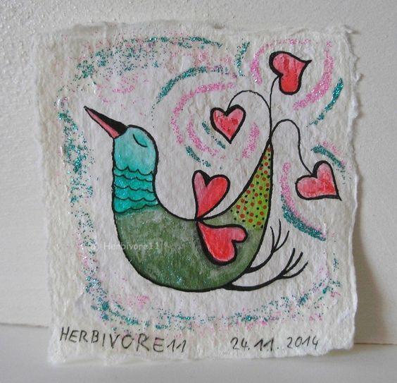 LIEBE BESCHWINGT von Herbivore11 Unikat Vogel Herz Liebe Minibild Bird Vögel süß