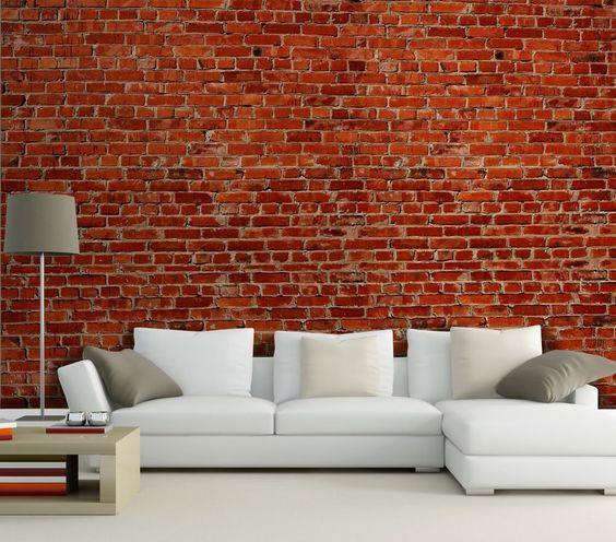 tapete wohnzimmer rot:Fototapete Backstein rot Stadt KT240 Größe: 420x270cm Tapete Stein