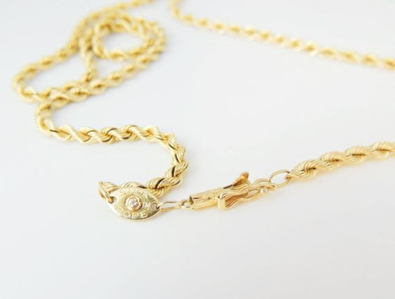 14k Rope Chain Necklace Silk Gold Genuine Diamond On Trademark Tag Jewelry Jewelry Gifts Necklace