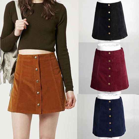 High Waisted Skirt With Buttons
