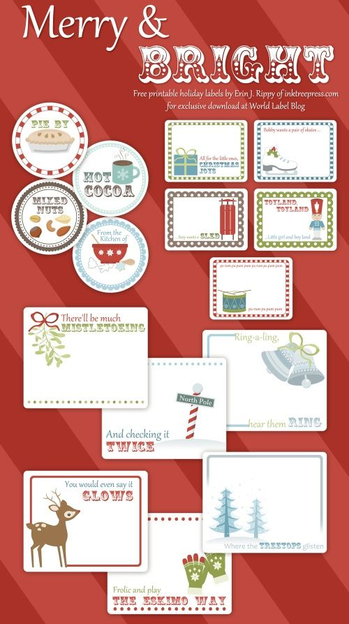 Holiday labels and more free printable templates printable labels and tags pinterest for Christmas label templates