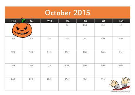 October 2015 Calendar Halloween  In this Post were - October 2016 Halloween Calendar