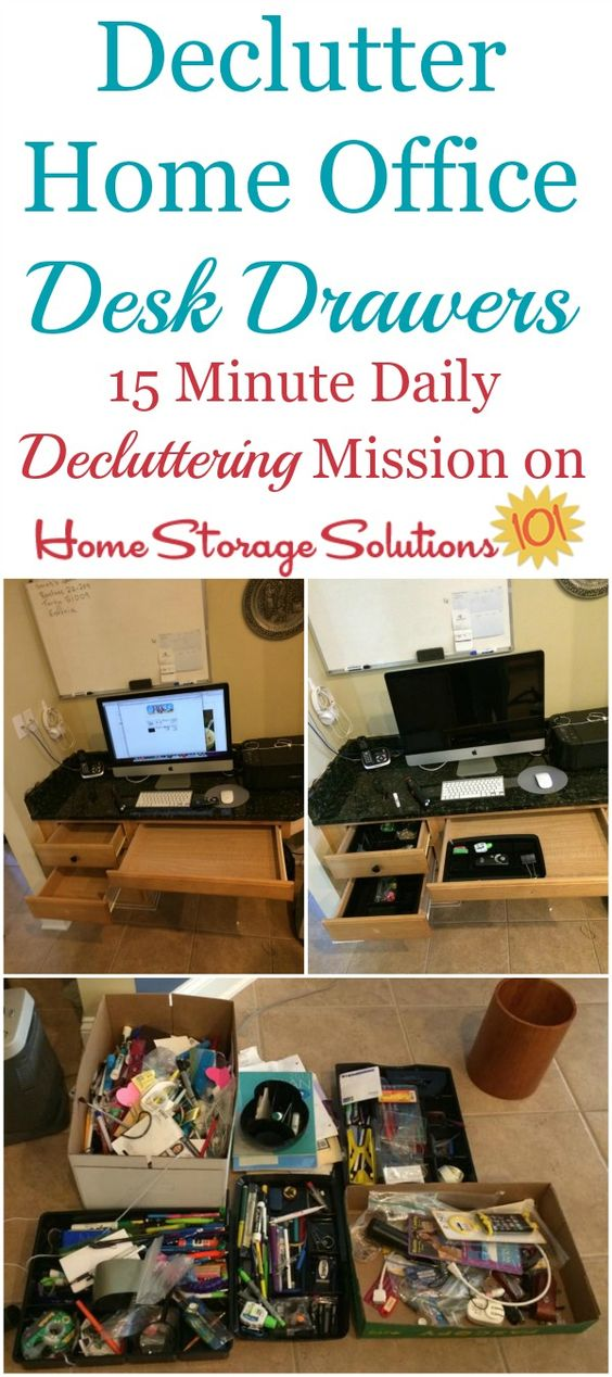 How to declutter desk drawers in your home office to get rid of the clutter and make your paperwork tasks easier in the future {on Home Storage Solutions 101}