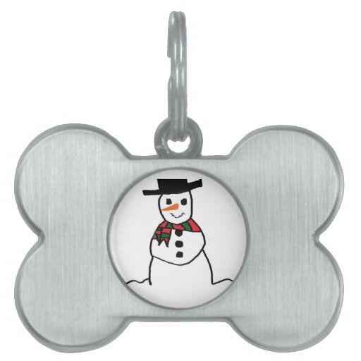 Snowman Pet ID Tag #Snowman #PetTag #Dog