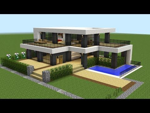 Minecraft How To Build A Modern House 20 Youtube Minecraft