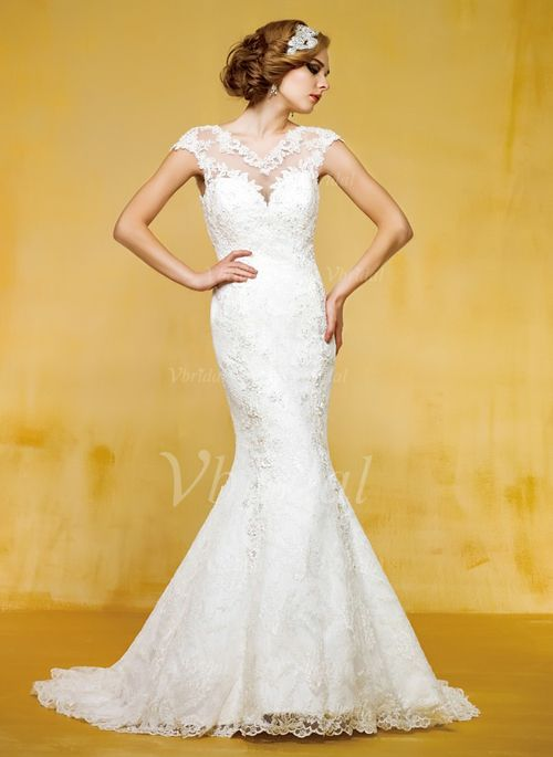 Robes de mariée - $199.99 - Forme Sirène/Trompette Col V Traîne moyenne Tulle Robe de mariée avec Dentelle Perles brodées (00205003191)