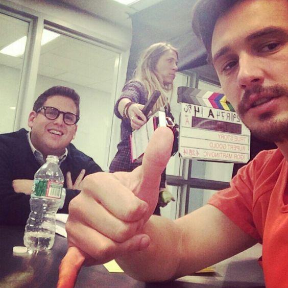 James Franco & Jonas Hill on set True Story (2014) #jamesfranco #jonahhill #behindthescenes #follow #followme