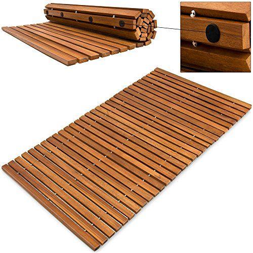 Alfombra de baño de madera de acacia pre aceitada anti de