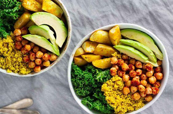 kale chou pois chiches pommes de terre patate avocat quinoa