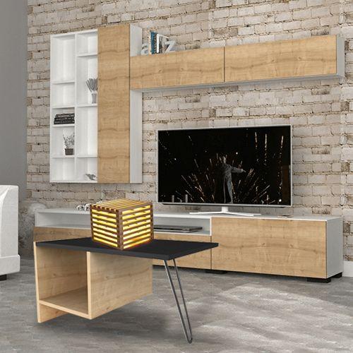 مجموعة الصالة المتكاملة عبارة عن طاولة قهوة وتلفاز وأباجوره من الخشب الطبيعي طاوله قهوه طاوله تلفاز ديكورات ديكور اثاث قهوتي Home Decor Home Decor