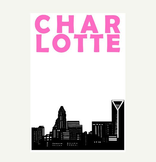 Charlotte NC Print // North Carolina Skyline Art by Pomalia