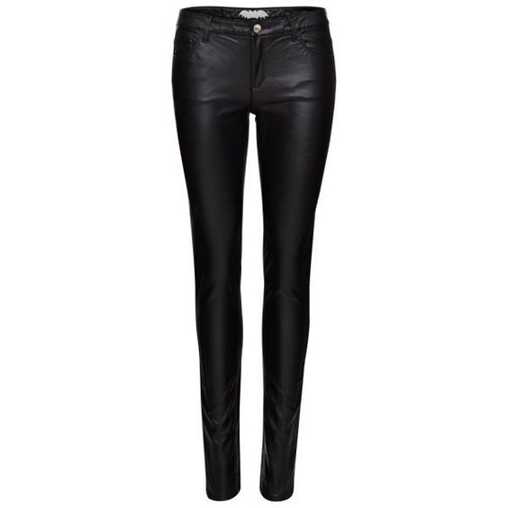 Zoe Karssen Women's Body Rock Mid Rise PU Gloss Jeans - Black (£59) ❤ liked on Polyvore featuring jeans, pants, bottoms, calças, pantalones, black, black skinny leg jeans, black zipper jeans, skinny jeans and black jeans