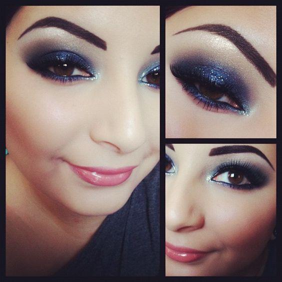 Glittery indigo/violet smokey eye makeup for brown eyes