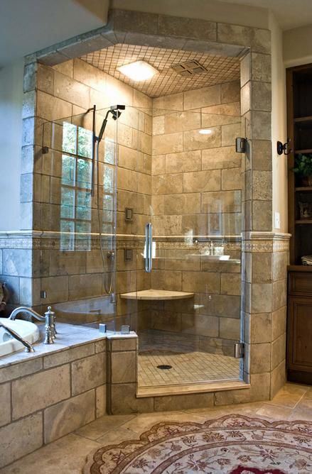 dream shower omg can you have a bathroom that big is it legal love the shape of the shower. Black Bedroom Furniture Sets. Home Design Ideas