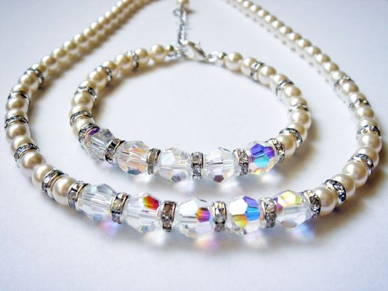 Lydia Matching Swarovski Crystal and Pearl Necklace and Bracelet Set $65