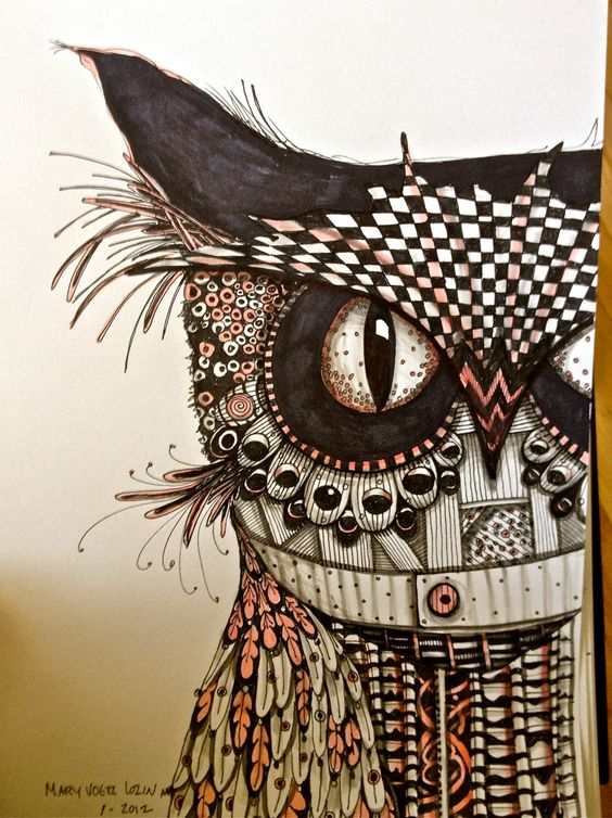 Owl drawing illustration art print zentangle bird black for Statut illustrateur