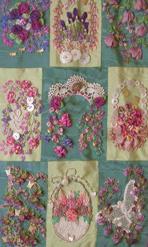 "ribbon embroidery Interesting ""CQ"" arrangement"