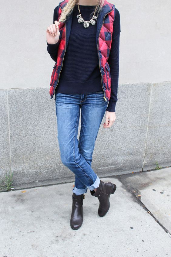 J.Crew Buffalo Check puffer vest, LOFT navy sweater, J.Crew Factory crystal statement necklace, American Eagle jeans, TJ Maxx brown leather booties, guess glasses