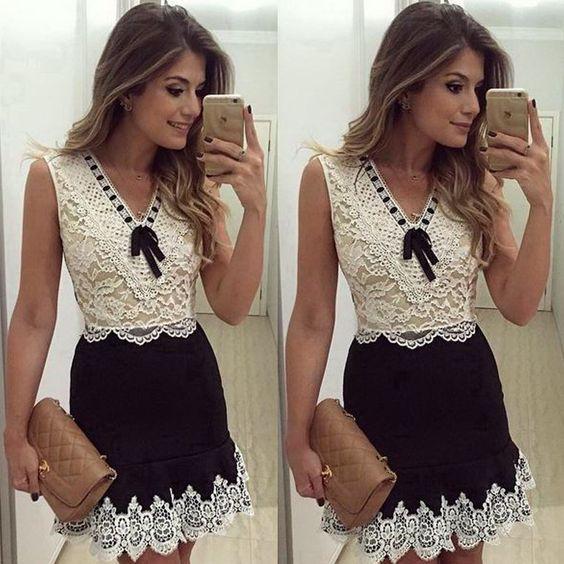Vestido de renda branco e preto