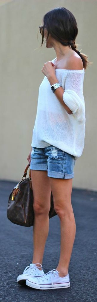 Spring Sweater + White Converse #casual #spring: