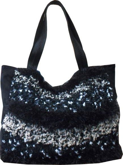 Handbag Tricot Preta   Elegância Urbana   328EE5 - Elo7