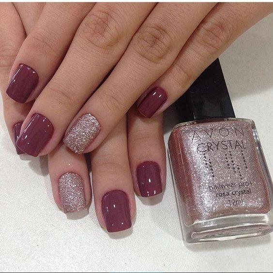 """Estou apaixonada por essa combinação! Esmalte: """"Mauve Urban"""" da Colorama + """"Rosa Crystal"""" da Avon! ⭐️⭐️ Trabalho top de lindo das @meninasdosalao!:"""
