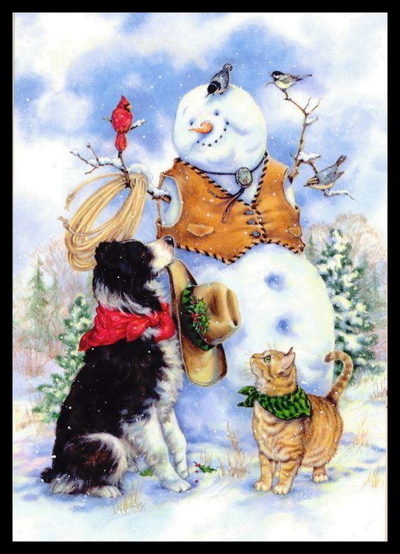 Donna Race Bird Border Collie CAT Chickadee Snowman Christmas Greeting Card 175   eBay (640 x 887):