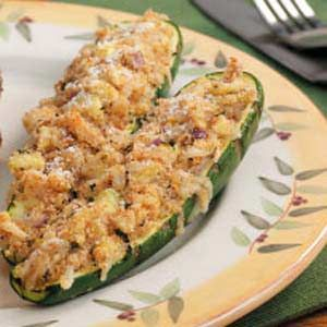 Stuffed Grilled Zucchini Recipe:  This is very tasty - a definite favorite!  When I make it again, though, I'll cut up one or two extra zucchini without scooping them out.  Otherwise, there's not quite enough filling for each half.  Then, a half of a stuffed zucchini is definitely enough for a serving.