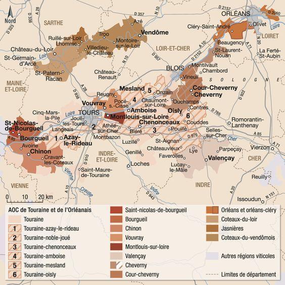 Touraine Et Orleannais Valle Del Loira Carte Des Vins Vin De