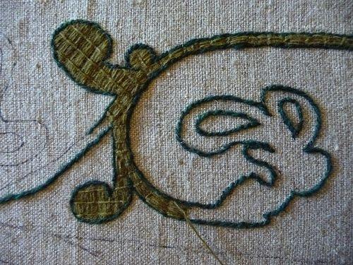 Bayeux Stitch - outline first, then fill stitch.