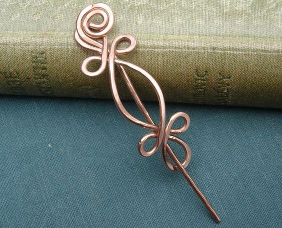 Little Celtic Copper Shawl Pin or Brooch  by nicholasandfelice, $ 18.00