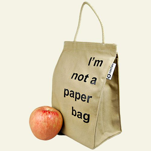 """reuseit Made in USA Lightweight Recycled Cotton Lunch Bag, """"I'm Not A Paper Bag""""$7.45  Just got these!  Love them!!  Machine wash cold and then hang dry!  Save the planet!!!"""