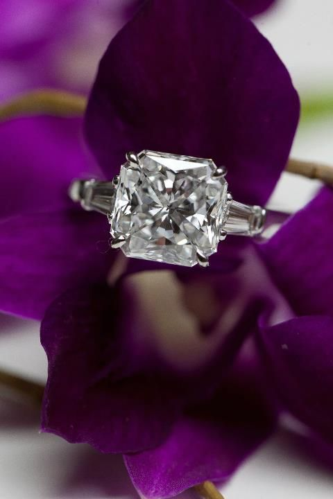 cushion cut engagement ring with baguette accents