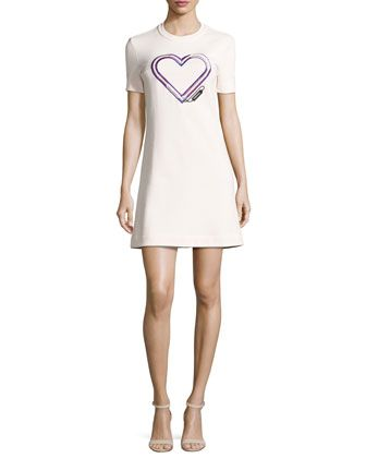 Short-Sleeve+Structured+Jersey+Mini+Dress,+Pink+by+Carven+at+Neiman+Marcus.