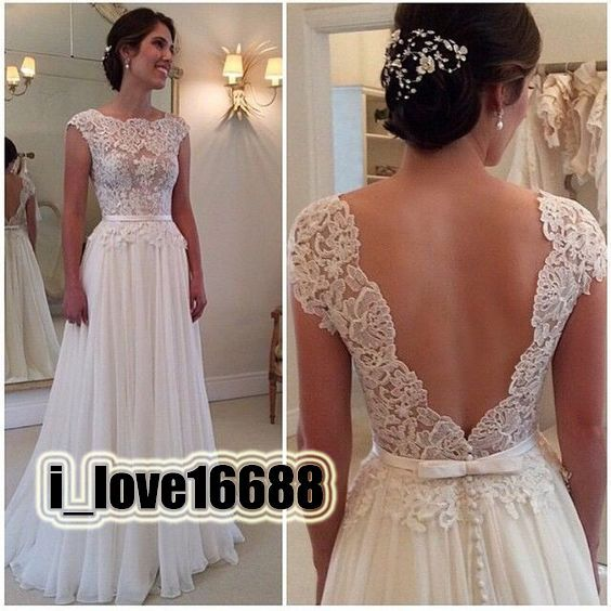 2016 New Style Sleeveless Lace Open Back White/Ivory Bridal Gown Wedding Dresses